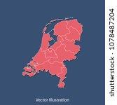 netherlands map   high detailed ... | Shutterstock .eps vector #1078487204