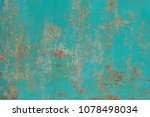 rusty metallic turquoise surface | Shutterstock . vector #1078498034
