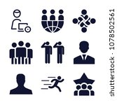 set of 9 men filled icons such... | Shutterstock .eps vector #1078502561