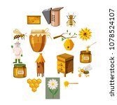 apiary icons set in cartoon... | Shutterstock .eps vector #1078524107