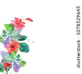 greetind card with watercolor... | Shutterstock . vector #1078529645