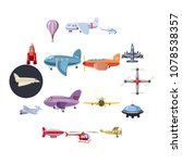 aviation icons set in cartoon... | Shutterstock .eps vector #1078538357