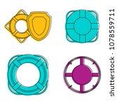lifebuoy icon set. color... | Shutterstock .eps vector #1078559711