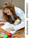 lovely child girl playing dough ... | Shutterstock . vector #1078560311
