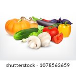 juicy and ripe vegetables. 3d... | Shutterstock .eps vector #1078563659