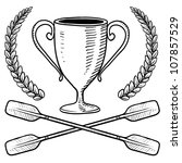 Doodle style canoeing or boating trophy sketch in vector format. - stock vector