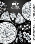 italian pizza and ingredients... | Shutterstock .eps vector #1078610804