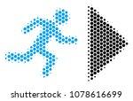halftone hexagonal exit... | Shutterstock .eps vector #1078616699