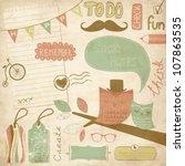 cute scrapbook elements  sticky ... | Shutterstock .eps vector #107863535