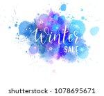 winter sale abstract watercolor ... | Shutterstock . vector #1078695671
