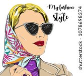 beautiful fashion woman in... | Shutterstock .eps vector #1078698374