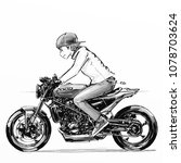 man riding motorcycle...   Shutterstock . vector #1078703624