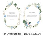 set of card with leaves and... | Shutterstock .eps vector #1078722107