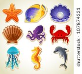 sea animals icons | Shutterstock .eps vector #107874221