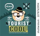 bear the tourist funny animal... | Shutterstock .eps vector #1078765994