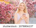 young beautiful woman texting... | Shutterstock . vector #1078806137