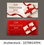 vector set of luxury gift... | Shutterstock .eps vector #1078814594