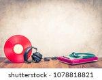 retro dj turntable mixer  old... | Shutterstock . vector #1078818821
