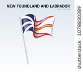 waving flag of newfoundland and ... | Shutterstock .eps vector #1078830389