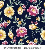 Vintage Flower Pattern On Navy...