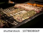 delicious meat grilling on the... | Shutterstock . vector #1078838069