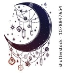 crescent boho moon with...   Shutterstock .eps vector #1078847654