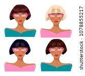 girl in glasses  brunette ... | Shutterstock .eps vector #1078855217