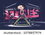 fitness instructor girl. cute... | Shutterstock .eps vector #1078857974