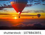 colorful hot air balloons... | Shutterstock . vector #1078863851