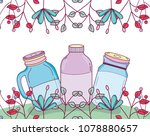mason jar with flowers | Shutterstock .eps vector #1078880657