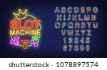 slot machine and alphabet neon... | Shutterstock .eps vector #1078897574