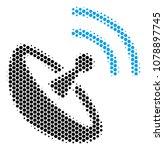halftone hexagon space antenna... | Shutterstock .eps vector #1078897745