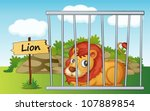 Illustration Of A Lion In Cage...