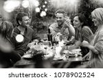 group of friends gathered... | Shutterstock . vector #1078902524