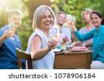 in summer. a group of friends... | Shutterstock . vector #1078906184