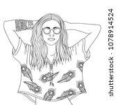 decorative boho woman in doodle ... | Shutterstock .eps vector #1078914524