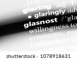 Small photo of glasnost word in a dictionary. glasnost concept