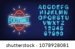 football and alphabet neon sign ... | Shutterstock .eps vector #1078928081