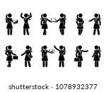 stick figure business woman... | Shutterstock . vector #1078932377