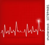 White Heart Beats Cardiogram O...