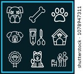 set of 9 dog outline icons such ... | Shutterstock .eps vector #1078947311