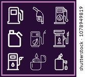 set of 9 gasoline outline icons ... | Shutterstock . vector #1078949819
