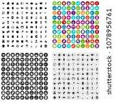 100 kitchen icons set vector in ... | Shutterstock .eps vector #1078956761