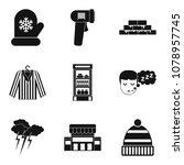 warm hut icons set. simple set... | Shutterstock .eps vector #1078957745