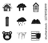 warm house icons set. simple... | Shutterstock .eps vector #1078958999