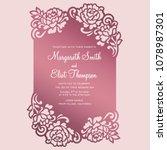 floral frame card. laser cut... | Shutterstock .eps vector #1078987301