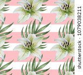 watercolor pattern with white...   Shutterstock . vector #1079038211