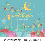 creative greeting card design... | Shutterstock .eps vector #1079040344