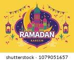 ramadan kareem design with ... | Shutterstock .eps vector #1079051657