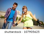 portrait of two young people... | Shutterstock . vector #107905625